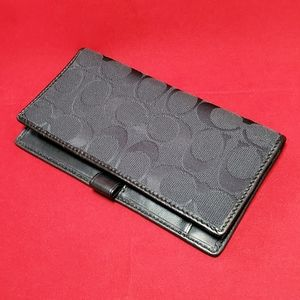 Coach leather and canvas checkbook holder